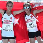 Girls race: Meryem Bekmez and Ayse Tekdal celebrate gold and silver