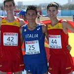 Boys race: Nicolas Fanelli (25) and Davide Marchesi (26) together with José Manuel Perez (44) and Danie Jimena (42) after the race