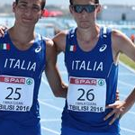 Boys race: Nicolas Fanelli (25) and Davide Marchesi (26) after the race